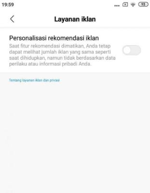 Menghilangkan Iklan di HP Xiaomi dengan Menonaktifka layanan iklan